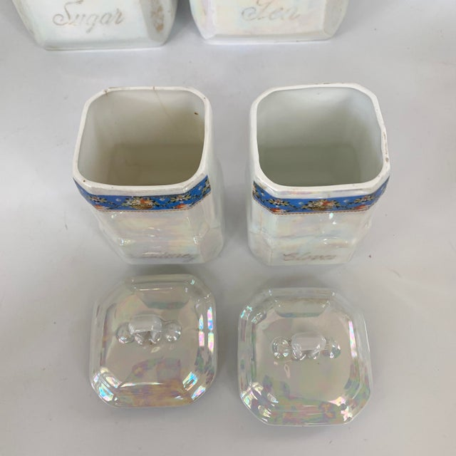 Blue Art Nouveau Victoria Czech Slovakia Luster Ware Canisters Jars Iridescent Set For Sale - Image 8 of 13