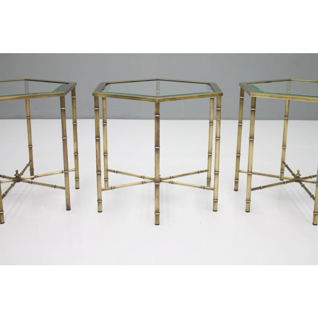 1970s Set of Three Octagonal Side Table in Brass and Glass, 1970s For Sale - Image 5 of 12