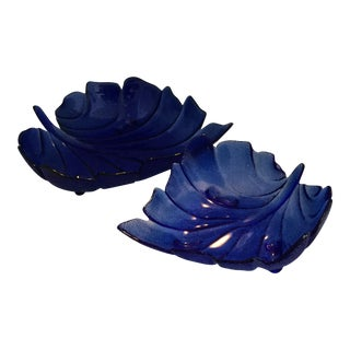 Leaf Vintage Cobalt Blue Bowls With a Scalloped Edge - A Pair For Sale