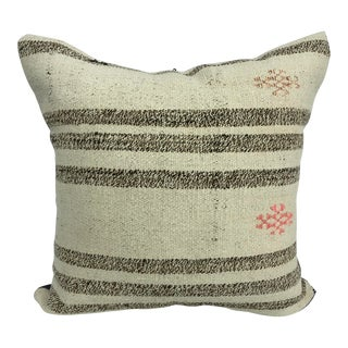 Vintage Turkish Decorative Striped Kilim Pillow For Sale
