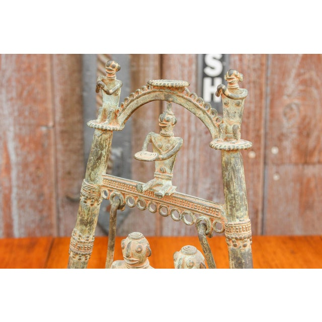 Brass Tribal Bastar Figurines on Swing For Sale - Image 8 of 11