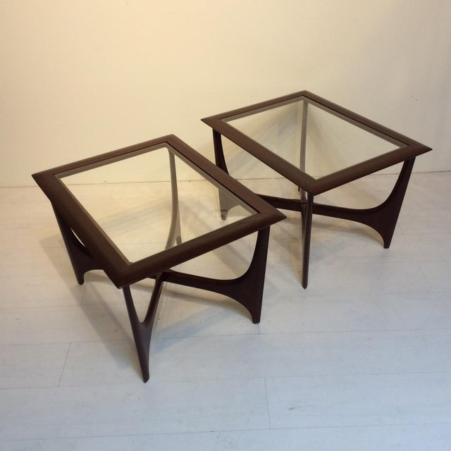 This pair of sculptural Adrian Pearsall style chairs by Lane are perfect for your living room and even work as nightstands...