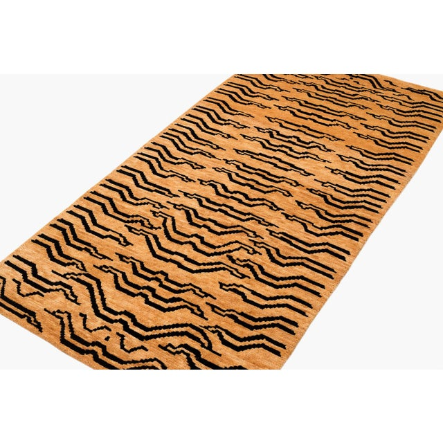 2010s Black and Golden Tan Wool Tibetan Tiger Area Rug-3′ × 6′ For Sale - Image 5 of 7