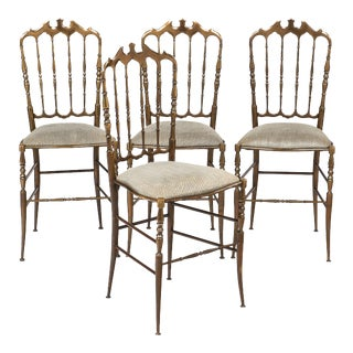 Vintage Brass Chiavari Chairs - set of 4 For Sale