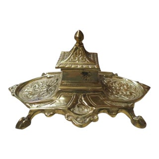Vintage Antique Ornate Solid Brass Inkwell, C1940. For Sale