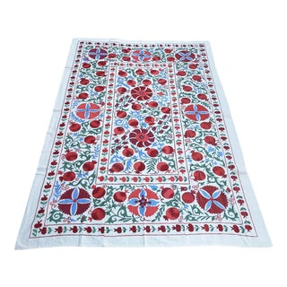 Boho Chic Blue and Red Handmade Suzani Throw, Floral Bedspread For Sale