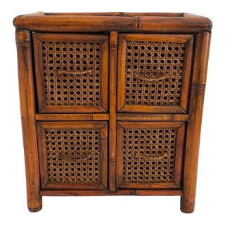 Mid-Century Modern English Cane and Bamboo Chest For Sale