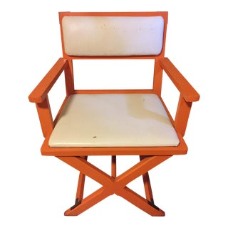 1960's Mid-Century Modern Orange Lacquer Director's Chairs - a Pair