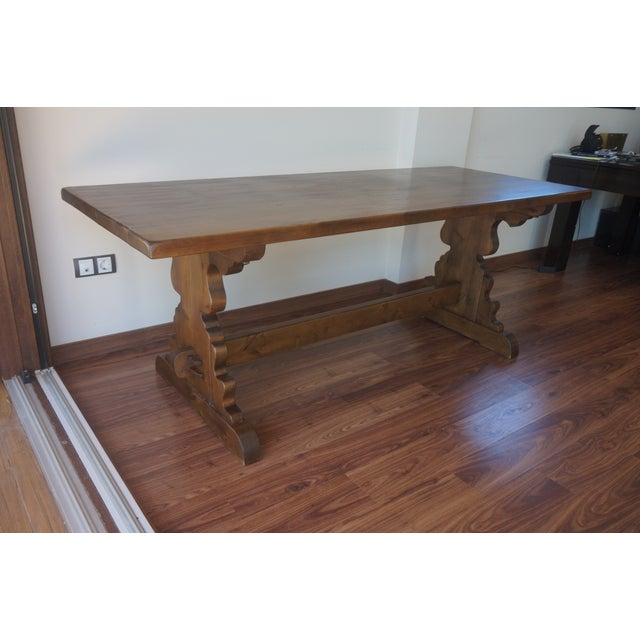 Spanish Rustic Dining Room Table with Lyre Leg For Sale - Image 10 of 10
