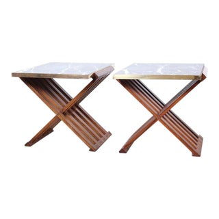 Pair of Rosewood X-Base Tables by Edward Wormley for Dunbar For Sale
