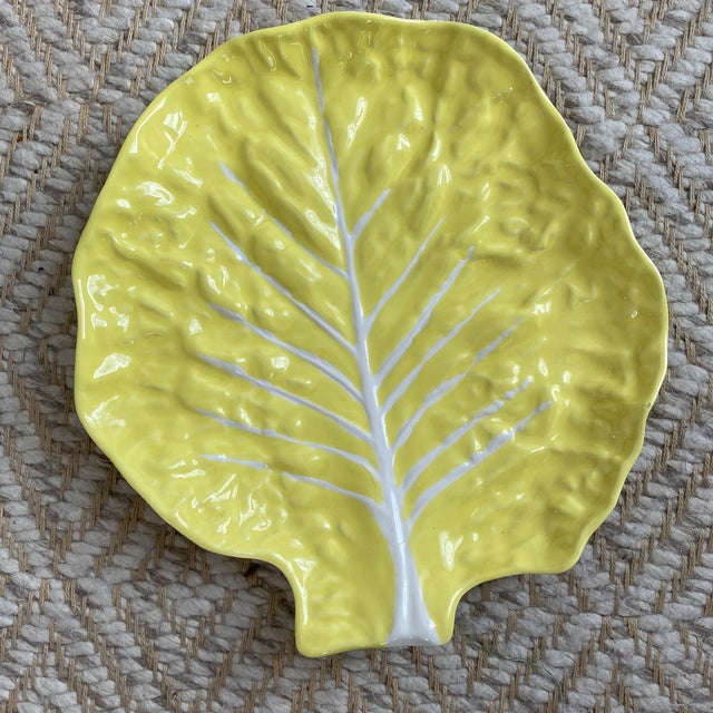 Yellow Vintage Portuguese Yellow Cabbage Platter For Sale - Image 8 of 11