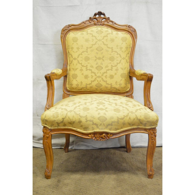 Quality Pair of Custom Upholstered Solid Walnut Louis XV Style Arm Chairs - Image 6 of 10