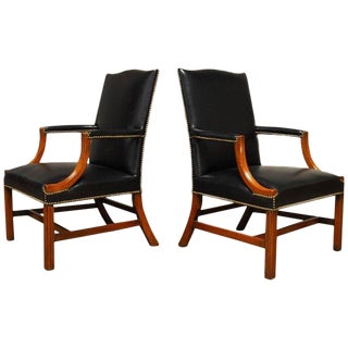 Famous Black Leather Mahogany Gainsborough Library Armchairs - a Pair