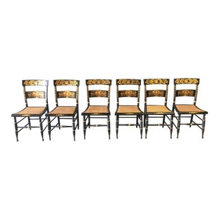 Late 18th Century Vintage Black and Gold Hitchcock Chairs- Set of 6 For Sale