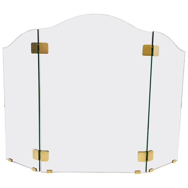 Brass Brass and Glass Fireplace Screen by Pace For Sale - Image 7 of 7