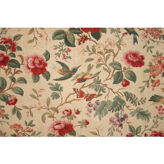 French Bird And Flower Design Fabric For Sale