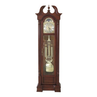 Sligh Cherry Grandfather Hall Clock With Beveled Glass For Sale
