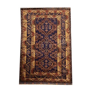 Hand Knotted Balochi Navy Red Gold Geometric Pattern Area Rug - 4′1″ × 7′1″ For Sale