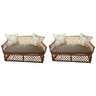 1950s Traditional Rattan Sofas Loveseats - a Pair
