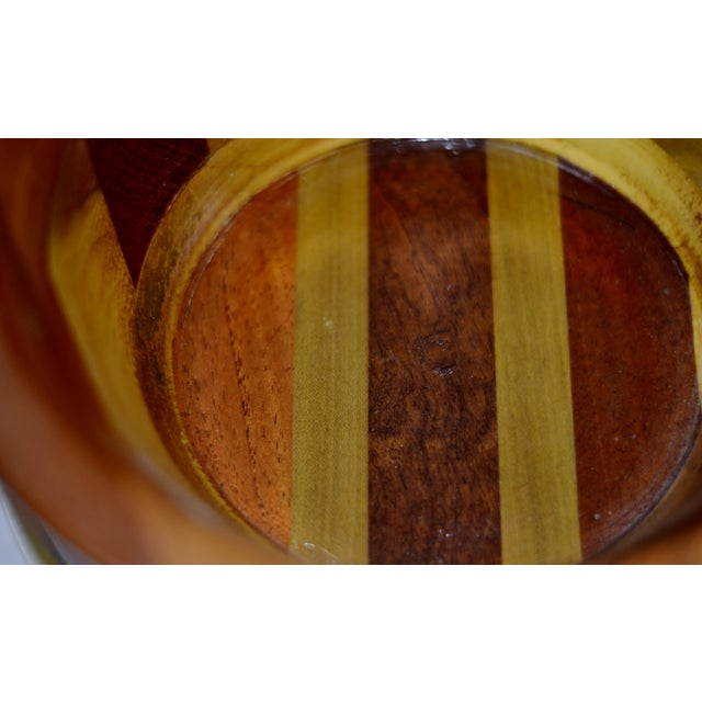 Brown Contemporary Wooden Pedestal Bowl For Sale - Image 8 of 9