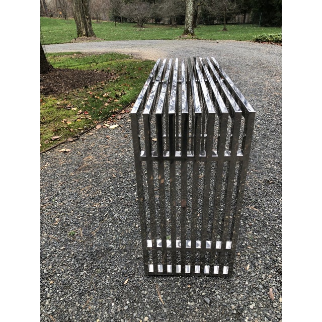 Metal Mid-Century Modern Chrome Console in the Style of Theo Eicholtz For Sale - Image 7 of 10