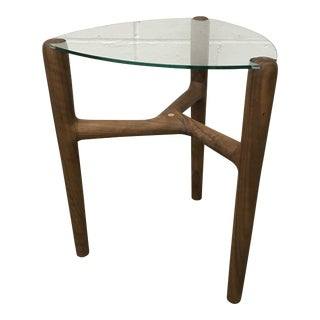 Solid Walnut & Glass Side Table