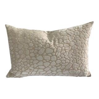 Modern Chalk Leopard Velvet Feather Down Accent Pillow, Custom Made For Sale