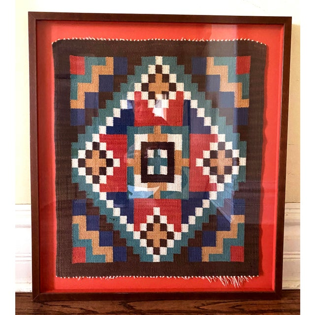 Scandinavian Red Textile in Red Shadow Box Frame For Sale - Image 13 of 13