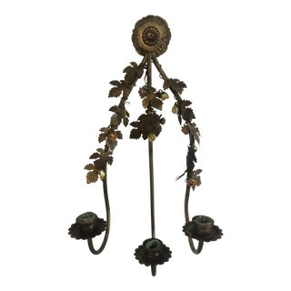 1940s Antique Tole Gilt Floral Bouquet 3 Prong Italian Brass and Porcelain Wall Sconce For Sale