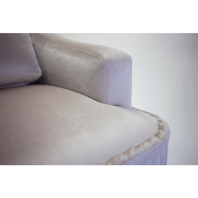 American Classical Club Chair With Loose Back Cushion and Hand Rolled Seat and Wood Turned Legs For Sale - Image 3 of 13