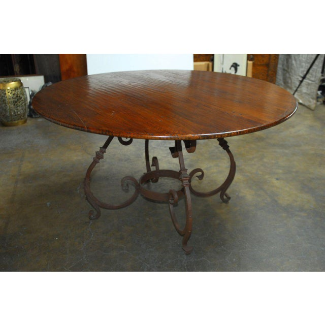 Italian Oak & Scrolled Iron Round Dining Table For Sale In San Francisco - Image 6 of 9