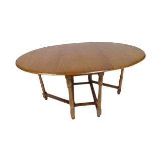 English Solid Wood Gate Leg Drop Leaf Oval Dining Table - 1970's For Sale