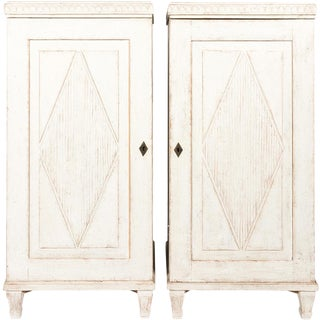 Pair of White Painted Cupboards For Sale