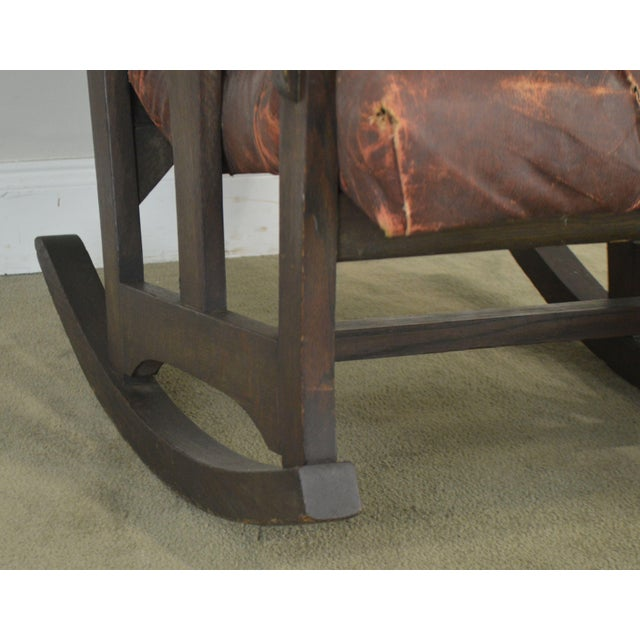 Antique Mission Arts & Crafts Period Oak Rocker With Cut Outs- Possibly Limbert For Sale - Image 11 of 13