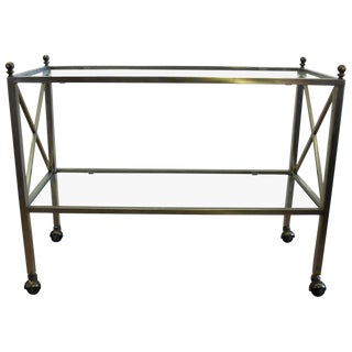 Mid-Century Modern Regency Style Stainless Steel Tea Cart For Sale