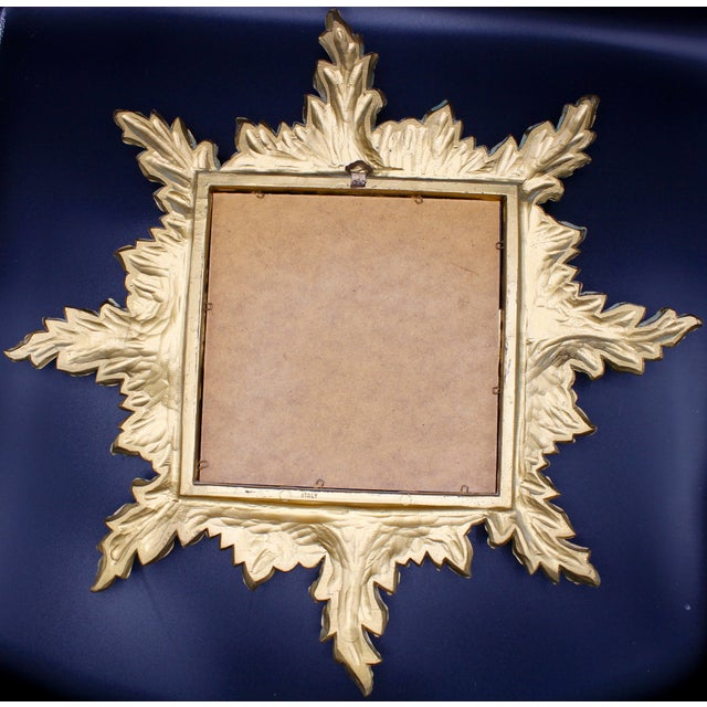 Gold 1960s Italian Gold Feather Rays Sunburst Mirror For Sale - Image 8 of 10