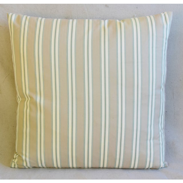 """Abstract French Striped Ticking Feather/Down Pillows 23"""" Square - Pair For Sale - Image 3 of 11"""