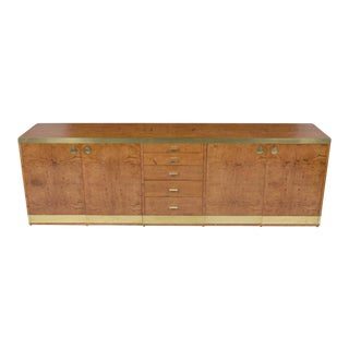 Mid-Century Brass Paull Evans Style Burled Credenza For Sale