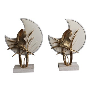 Mid-Century French Maison Charles Gilt Bronze Leaping Heron Against Silk Moon Lamps - a Pair