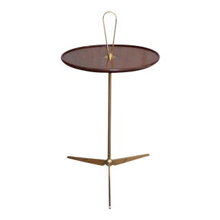 A Brass and Wood Occasional Table, Italy 50' For Sale