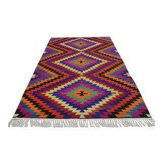 Turkish Antalya Barak Kilim Hand Woven Area Rug - 5′10″ × 9′1″ For Sale