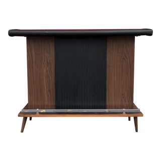 Mid-Century Modern Black Vinyl and Wood Concealed Storage Bar For Sale