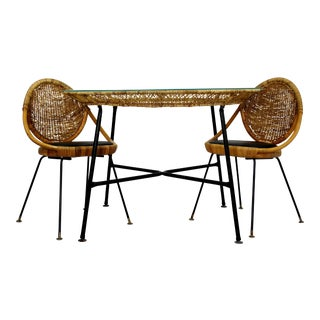 1960s Mid-Century Modern Danny Fong Rattan and Iron Patio Dining Set - 3 Pieces