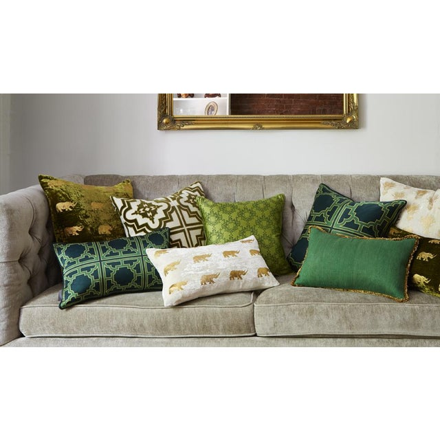 Contemporary Arusha Ivory Velvet Accent Pillow With Rhinos For Sale - Image 3 of 4