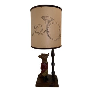 Mid 20th Century English the Hunt Fox Traditional Lamp For Sale