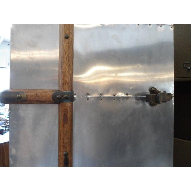 Silver Restoration Hardware Steamer Trunk Secretary For Sale - Image 8 of 11