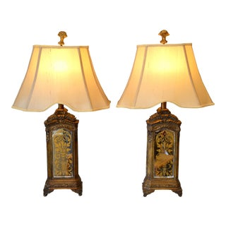 Pair of Bronze Contemporary Mirrored Glass Antique Looking Composite Table Lamps With Shade For Sale