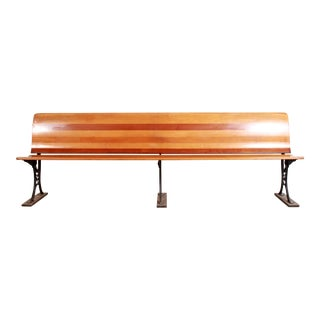 Solid Wood & Cast Iron 8 Foot Long Folding Train Station Bench For Sale