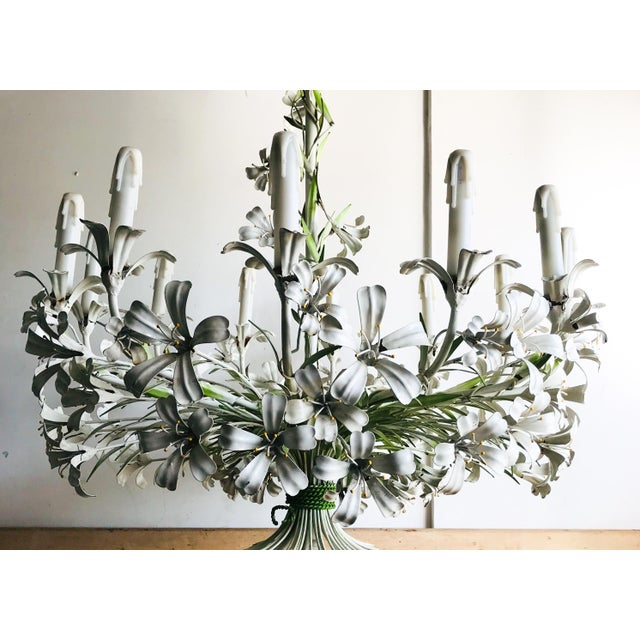 Italian Vintage Floral 1950s Monumental Italian Tole Painted Chandelier For Sale - Image 3 of 9