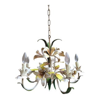 Antique French Tole Flower Chandelier Light Fixture 5 Lamp Polychrome Metal For Sale